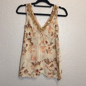 Banana Republic Sheer Floral V-Neck  6/Silk cami